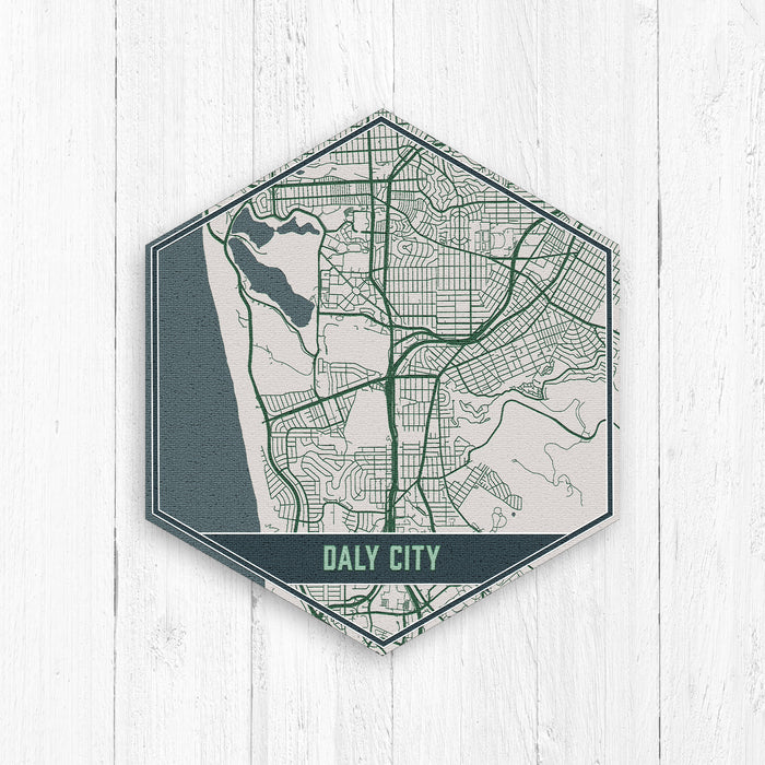 Daly City California Hexagon Street Map