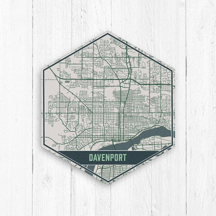 Davenport Iowa Hexagon Street Map