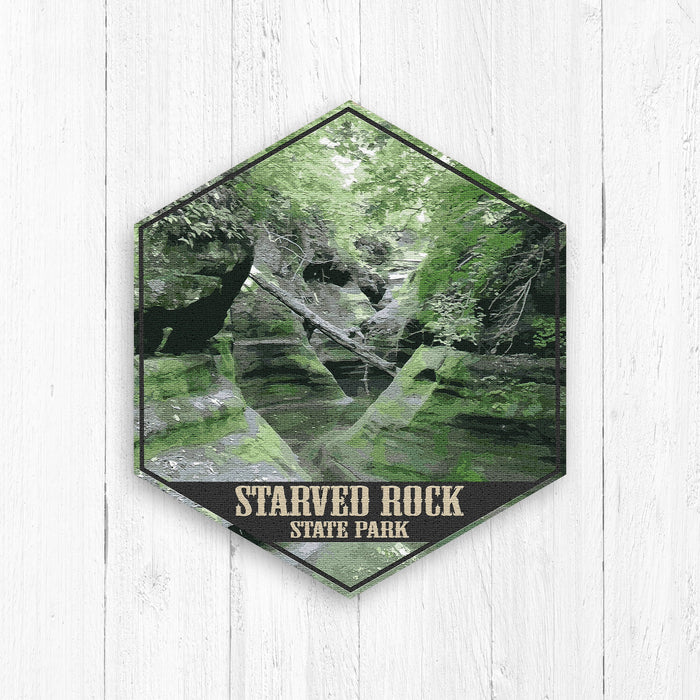 Starved Rock State Park Illinois Hexagon Illustration Print