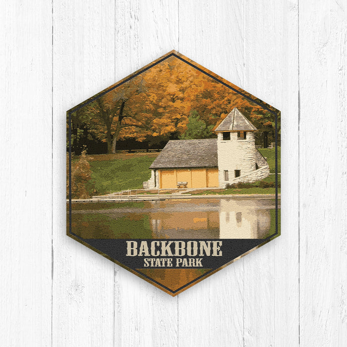 Backbone Iowa State Park Hexagon Canvas