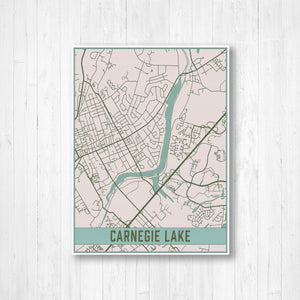 Carnegie Lake New Jersey City Street Map Print