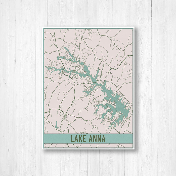 Lake Anna Virginia Map Canvas Print