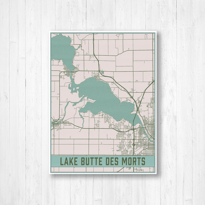 Lake Butte Des Morts Wisconsin Map Print