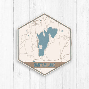 Bantam Lake Connecticut Hexagon Map Print