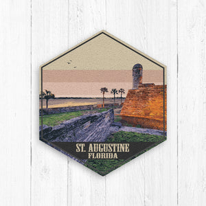 St Augustine Florida Hexagon Illustration Print