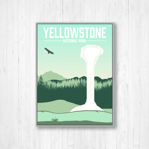 Yellowstone National Park Modern Illustration Print