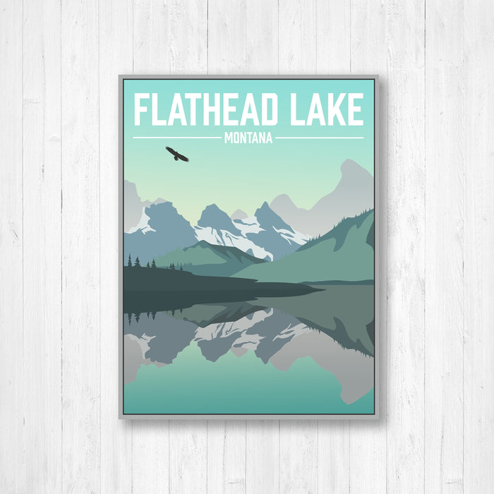 Flathead Lake Montana Modern Illustration