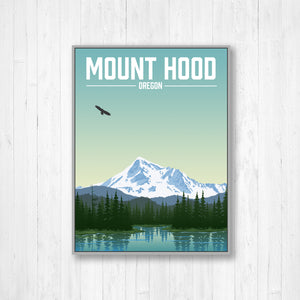 Mount Hood Oregon Modern Illustration Print