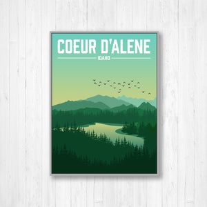 Coeur d'Alene Idaho Modern Illustration Print