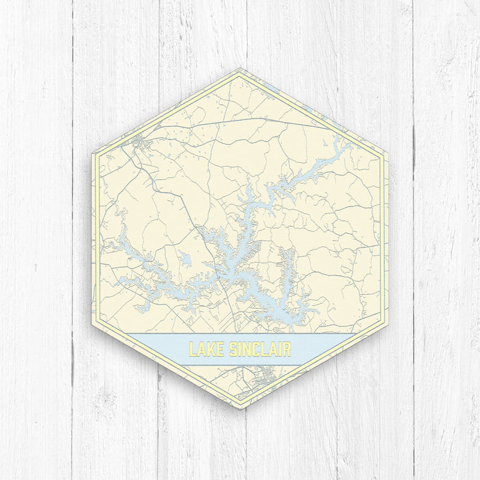 Lake Sinclair Georgia Hexagon Print