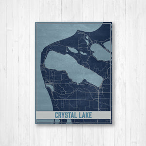 Crystal Lake Michigan Map Print