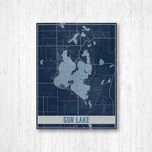 Silver Lake Michigan Lake Map Print
