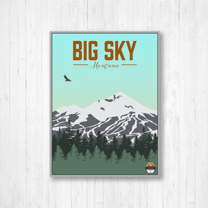 Big Sky colorful Ski Resort Print