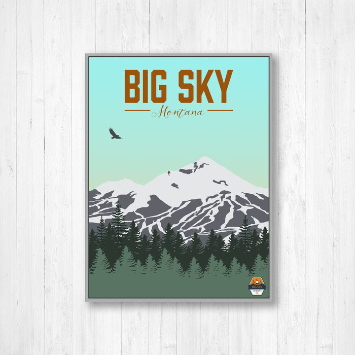 Big Sky Montana Ski Resort Modern Illustration
