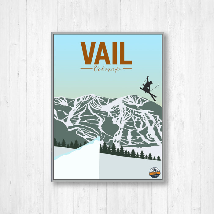 Vail Colorado Mountain Modern Illustration Print
