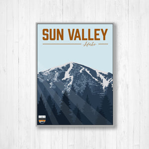 Sun Valley Idaho Hanging Canvas Ski Resort Illustration by Printed Marketplace