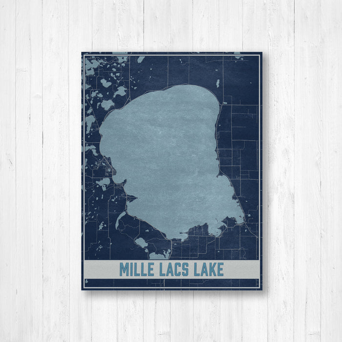 Mille Lacs Lake Minnesota Map Print