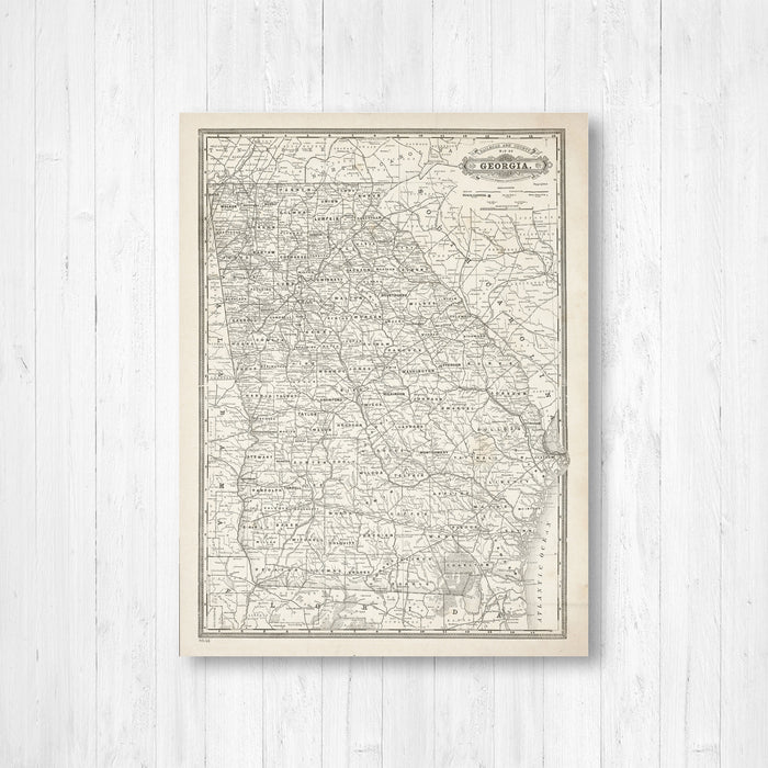 Georgia Antiqued State Map Print