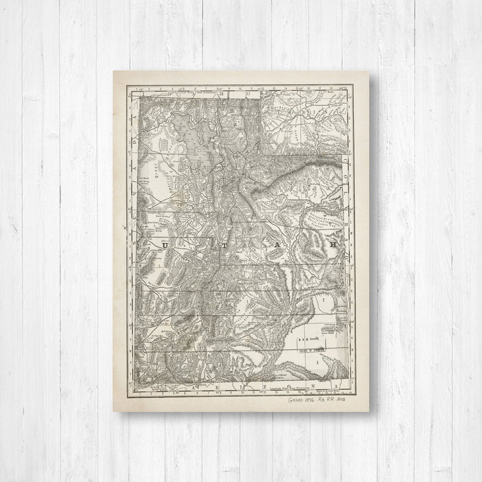 Utah Antique State Map Print