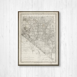 Nevada Antique State Map Print | Nevada Canvas Map Art | Printed Marketplace