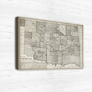 Antiqued Style Map Print