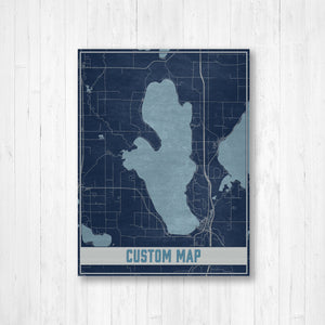 Custom Lake Map Print