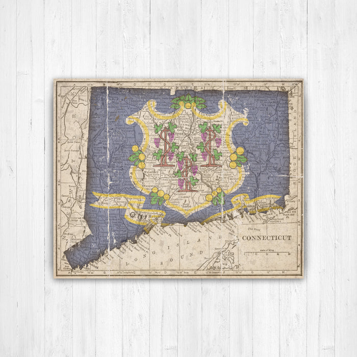 Connecticut State Flag Map Canvas Print