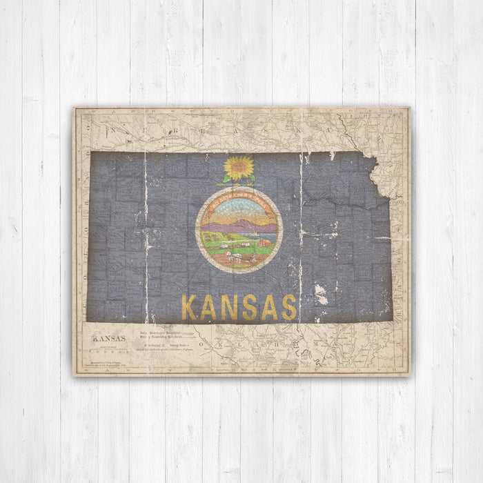 Kansas State Map Flag