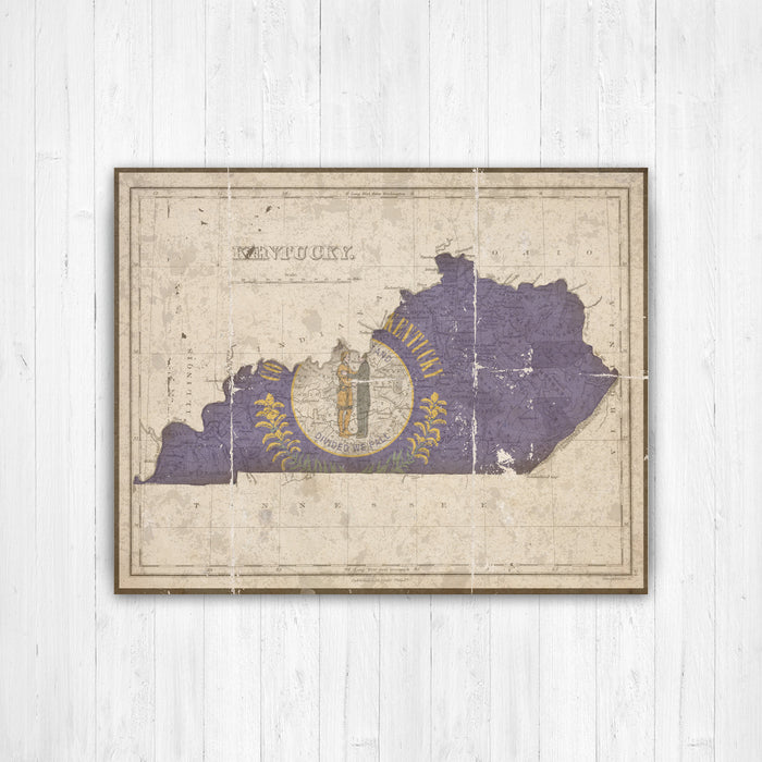 Kentucky State Map Vintage Flag