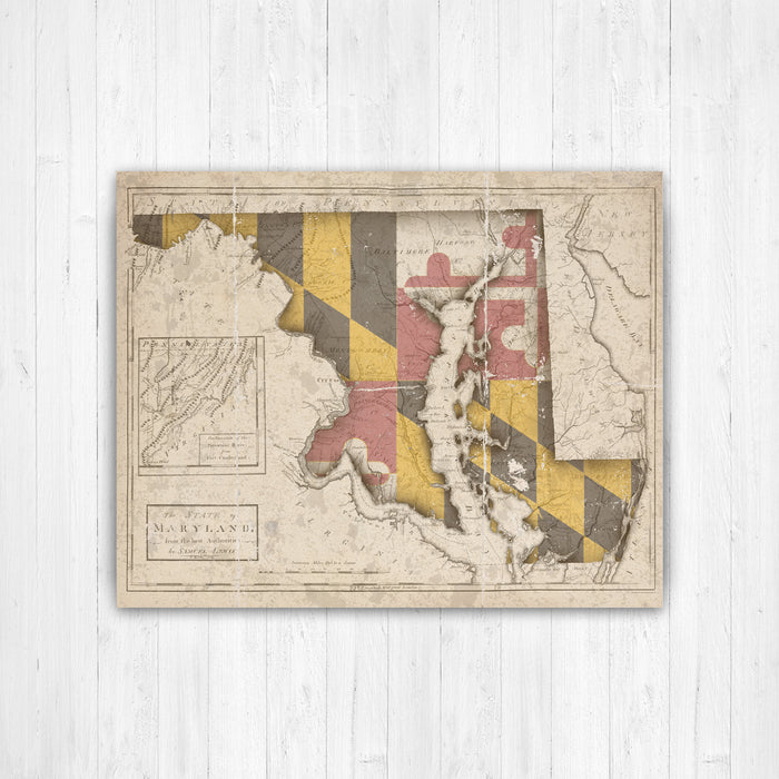 Maryland State Map Flag Conversion Print