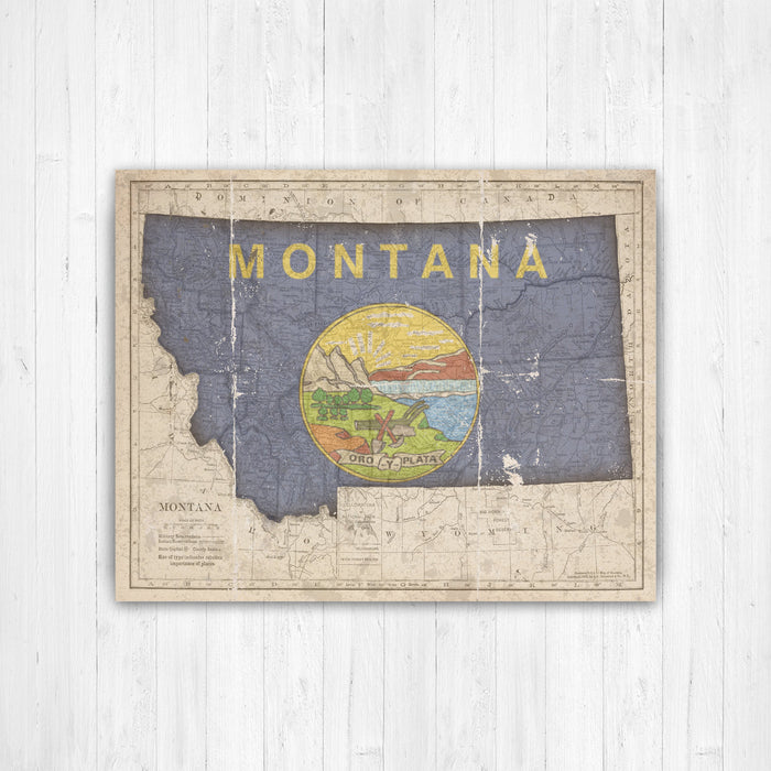 Montana Map Flag Conversion Print