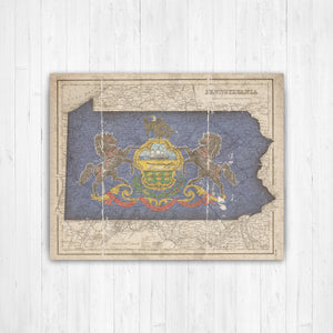 Pennsylvania Map Flag Conversion Print