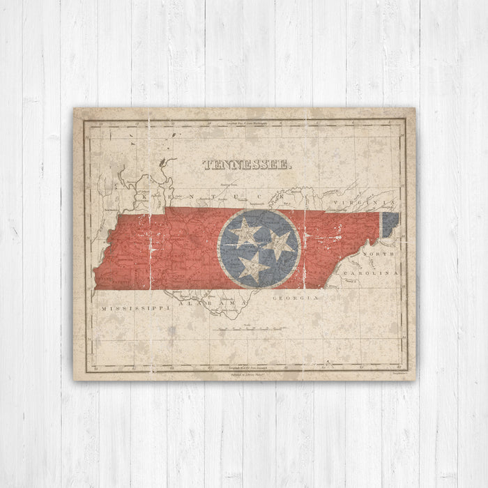 Tennessee State Flag Map Print