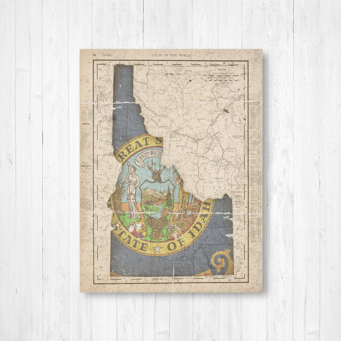 Idaho Vintage Flag Map