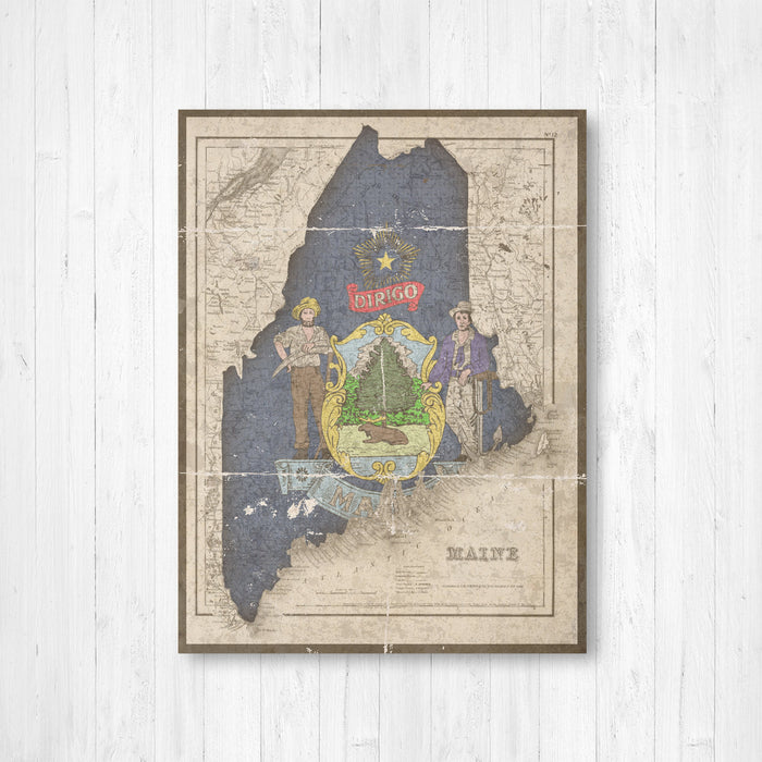Maine State Map Flag Conversion Print