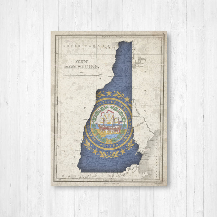 New Hampshire Flag Map Print