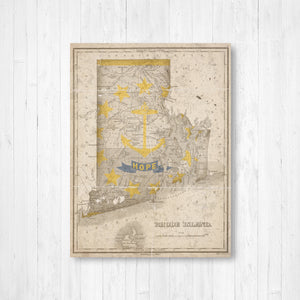 Map of Rhode Island Vintage Flag Overlay