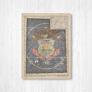 Utah State Flag Map Canvas Print