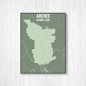 Arches National Park Street Map Print