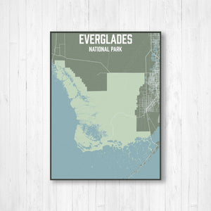 Hanging Canvas Map of Everglades National Park by Printed Marketplace
