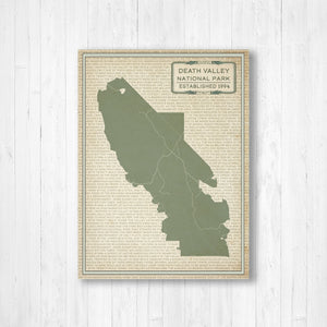 Hanging Canvas Map of Death Valley National Park | Printed Marketplace
