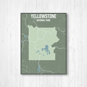 Yellowstone National Park Street Map Print