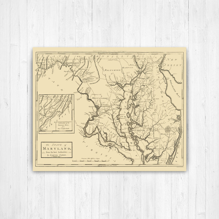 Maryland Antiqued State Map