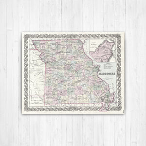 Missouri Antiqued State Map