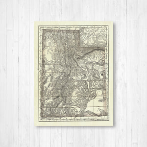Utah State Map Antique Canvas Print
