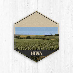 Iowa Hexagon Canvas Illustration