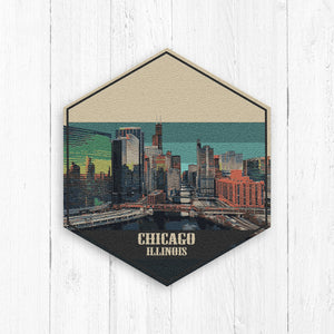 Chicago Illinois Hexagon Illustration Print