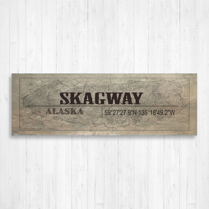 Skagway Alaska GPS Hometown Wall Canvas Print