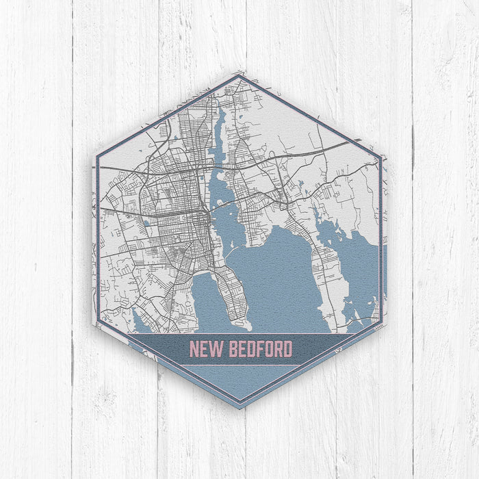 New Bedford Massachusetts Street Map Hexagon: Gray
