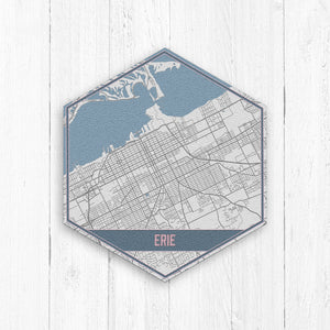 Erie Pennsylvania City Street Map Hexagon